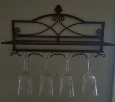 SOUTHERN LIVING brown METAL WALL MOUNT glass shelf with wine glass rack