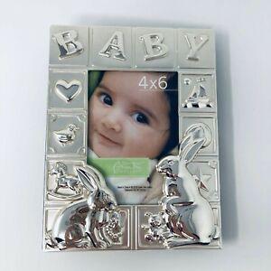Baby Silver Chrome Embossed Photo Keepsake Album 4 x 6