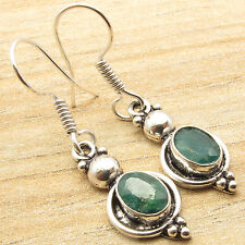 Jaipur Jewelry ! Price Start From $0.99 ! 925 Silver Plated EMERALD Gem Earrings