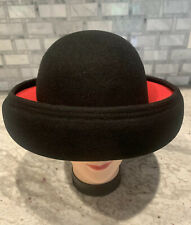 Vintage B Michael New York 100% Wool Black And Red Womens Hat Evc !