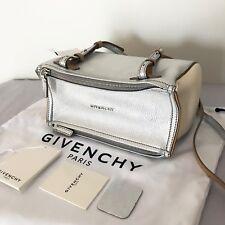 Givenchy AUTH Pandora Mini Leather Messenger Bag Crossbody Silver White Beige