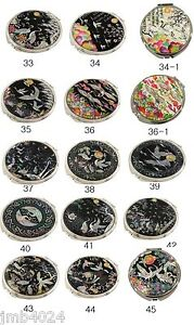 MOP Makeup Cosmetic Handbag Vanity Compact handheld mirror 12 crane patterns