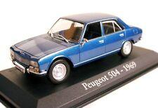 1/43 - IXO - RARE - EN BOITE VITRINE - PEUGEOT 504 BERLINE BLEU METALISE - 1969