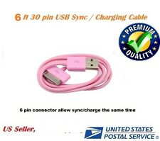 6ft Pink USB Sync Data Charging Charger Cable for Apple iPhone 4 4S 4G 4th
