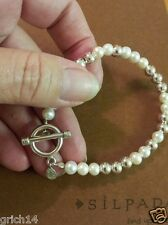SILPADA FRESHWATER PEARL & STERLING SILVER BEAD BRACELET W/ TOGGLE CLASP B2399