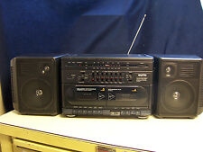 SANYO MW232 BOOMBOX stereo  DUAL CASSETTE AM/FM 5 BAND EQ Detachable speakers