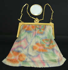 Art Deco Whiting & Davis Mesh Purse Bag Enamel Flower Mirror Excellent Condition