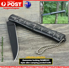 Bamboo Folding Knife Hunting Camping Tactical Outdoor Mini Small Pocket Knife AU