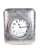 Sterling Silver Traveling Watch Holder w/8 days watch -c1900s