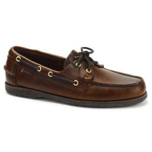 Sebago Endeavour Mens Brown Waxed Leather Boat Deck Shoes Size 8-13