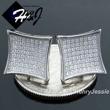 MEN 925 STERLING SILVER 12X12MM ICED BLING SQUARE SCREW BACK STUD EARRING*E73