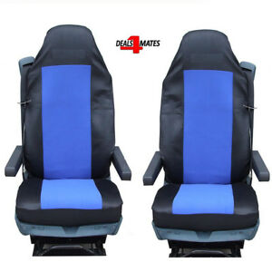2X BLUE FABRIC TAILORED SEAT COVERS FOR VOLVO TRUCKS FH12 FH 16 FL FM FH16