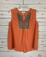 Esley Anthropologie Women's L Large Coral Sleeveless Spring Summer Top Blouse