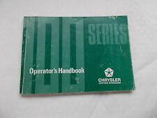 A Chrysler 100 Series Operator's handbook dated 1977