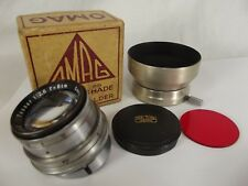 CARL ZEISS Jena TESSAR 80mm f/2.8 8cm Lens screw on OMAG dural shade vintage