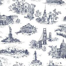 Wallpaper American Landmark Toile Golden Gate Alamo Statue of Liberty in Blue