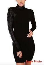 GRACIA SLITHER SNAKE SCALE TURTLENECK LEATHER SLEEVE MINI BLACK DRESS, Sz.L, New