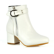 Womens Ankle Boots Block Low Mid Heel Ladies Zip Buckle Strap Smart Booties Shoe
