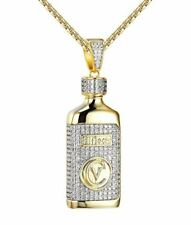 Hi-Tech CV Gold Pendant Simulated Diamond Silver Tone Necklace Jewelry
