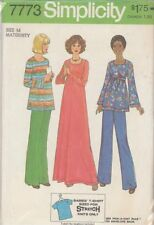 Vintage Maternity Pullover Dress & Pants Sewing Pattern S7773 Size 14
