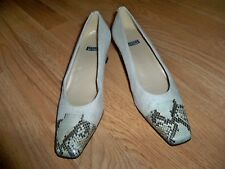 VINTAGE STUART WEITZMAN TAN FABRIC WITH SNAKE SKIN EFFECT @ TOE SHOES 8AA NEW