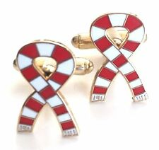 Red and White Scarf Sports Cufflinks (N181) Gift Boxed