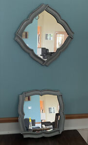 """(2) Accent Mirror Silver Square Hanging Wall Decor 17.5"""" X 17.5"""""""