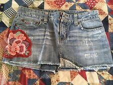 Abercrombie & Fitch women's size 8 Denim Jean mini skirt floral stitching