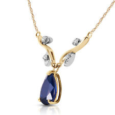 1.52 CTW 14K Solid Gold Necklace Natural Diamond Sapphire
