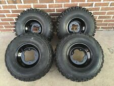 4 NEW KAWASAKI KFX400 KFX450 R BLACK Aluminum Rims & Slasher Tires Wheels kit