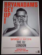 Bryan Adams Get Up O2 London Concert Promo card / flyer 2016