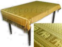 VINTAGE SILK Table Cloth Cover THAI ELEPHANTS Reversible Rectangular Yellow Gold