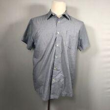J. Ferrar Men Short Sleeve Button Up Shirt Size Large L Slim Fit Top Blue - D41