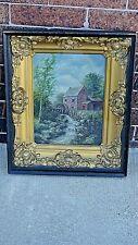 Victorian Antique Oil painting water mill scene frame Artist J. Gemnetzier