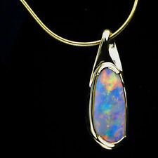 Beautiful Natural Rare Brazilian Opal 14kt Yellow Gold Drop Pendant