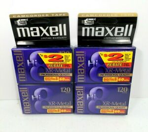 Pack of 4 New MAXELL HI 8 120 Professional Quality XR-Metal 8mm Video Tapes