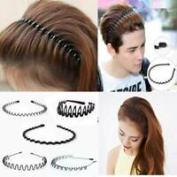 Unisex Mens Womens Sports Wave Hair Band Metal Black Hairband Headband Hair Band