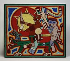 New ListingMexican Huichol Yarn Painting - Mayan Priest Riding Iguana - 1970's Southwest