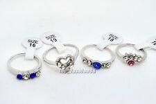 Wholesale Mix 10pcs CZ Rhinestone Silver Plated Woman Rings Gift Jewelry FREE