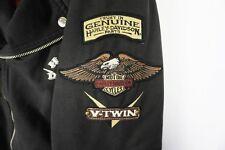 Harley Davidson V-Twin Canvas Quilt Lined Asymmetrical Black Jacket Coat Large