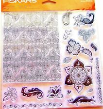 Henna Petals Background and Flowers Clear Acrylic Stamp Set by Fiskars NEW!