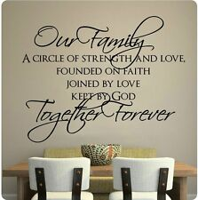 "30"" Our Family Circle Of Strength Love Faith Together Forever Wall Decal Sticker"