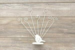 NEW White Cast Iron and Metal Bird Multiple Photograph or Card Holder (7)