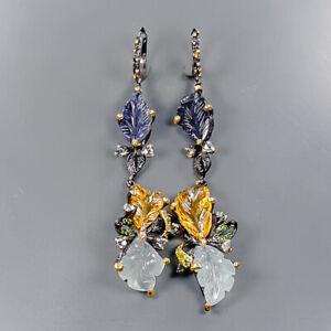 AAAA+ luxury jewelry Aquamarine Earrings Silver 925 Sterling   /E58065