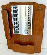 Vintage 1930's Oak Wood Hallway Wall Mounted Mirror, Brush & Letter Holder Set