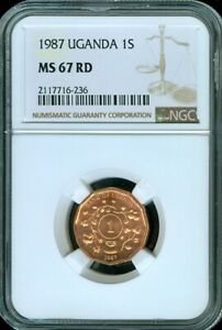 1987 UGANDA 1 SHILLING NGC MS 67 RD UNC BU VIBRANT COIN FINEST KNOWN