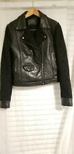 GUESS Genuine lamb Leather and lace  Moto Motorcycle Crop Jacket Sz L biker chic