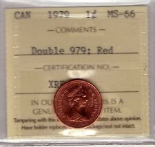 "1979 Canada Small Cent ""Double 979; Red"" ICCS MS-66"