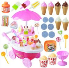 Pretend Snacks Sweets Food Ice Cream Cart Children Girls Role Play Game Toys TB