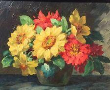 Hübsches älteres Ölbild: Blumenstillleben im Prunkrahmen signiert W.Sommer